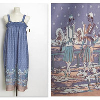 Vintage 1970s Sundress / Blue Sleeveless Novelty Print / Smocked Dress w/ Original Tags / New Old Stock