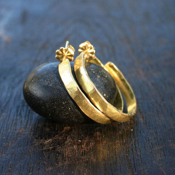 "18k gold earrings. 18k gold hoop earrings. Solid gold earrings. Solid gold hoop earrings. Hammered rustic organic 1"" diameter gold hoops."