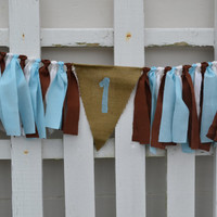 Burlap High Chair banner chocolate brown, blue and cream with #1 in blue 1st birthday decor High Chair Banner