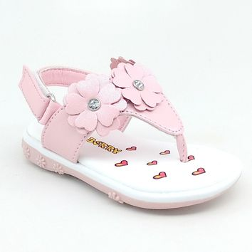 Baby Pink Floral Summer Sandal with Hook and Loop Strap