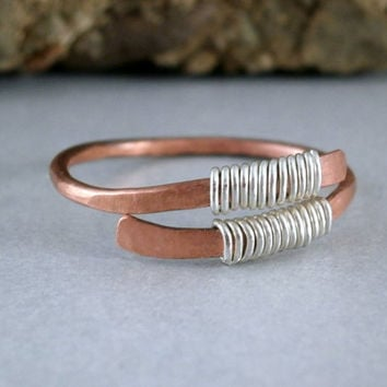 SALE Hammered Copper Ring Mixed Metals Oxidized Copper with Sterling Silver Artisan Metalwork Ring Simple Metal Jewelry Made to Order Ring