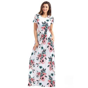 Floral Print Floor-length Maxi Dress Pocket Design Boho Prints Short Sleeve Long Dress Beach Casual Wear Women's Summer Dresses