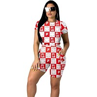 FILA 2019 new women's plaid print sports suit two-piece Red