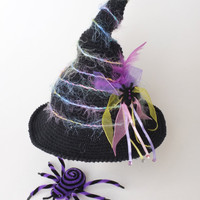 Baby Witch Hat with Veil Halloween Photo Props Newborn Costume Hat Infant Girl Sorting Hat Crochet Cotton Hats Baby Shower Gift  Cute Hats