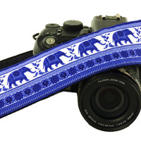 Blue Elephants Camera Strap. DSLR Camera Strap. SLR Camera Strap. Canon, Animal Camera Strap. Nikon Camera Strap. Women Accessories