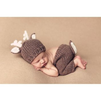 Xmas Deer Design Toddler Infant Crochet Hats with ears Knitted pants with tails Costume Newborn Photography Shoots Set