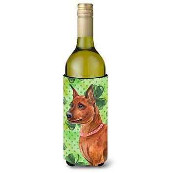 Miniature Pinscher St Patrick's Wine Bottle Beverge Insulator Hugger BB9830LITERK