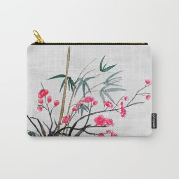 bamboo and red plum flowers  Carry-All Pouch by Colorful Nature