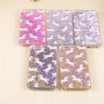 cartoon unicorn horse Glitter Paillette dynamic water dynamic stars iquid Phone Cover Hard Case for iPhone 5S 6 s 6 Plus