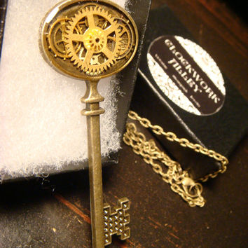 Clockwork Skeleton Key Steampunk Necklace Made with Real Vintage Watch Part Gears (1862)