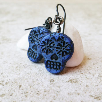 Dark Blue Sugar Skull Earrings, Dia de los Muertos Mexican Earrings, Handmade Skull Jewelry