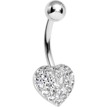 Solid 14kt White Gold Cubic Zirconia Paved Heart Belly Ring