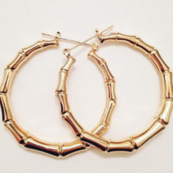 80s/90s faux GOLD bamboo textured Hoops! ~ Vintage/Deadstock!