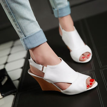 Open Toe Buckle Slingbacks Wedges Sandals 2496