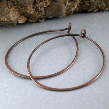SALE Simple Copper Hoop Earrings Medium Sized Hoops Artisan Metalwork Antiqued Copper Jewelry Made to Order Simple Hammered Jewelry