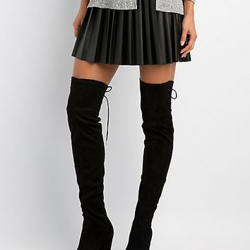 Lace-Up Over-The-Knee Block Heel Boots