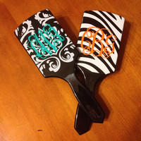 Personalized Paddle Brush in Damask Print