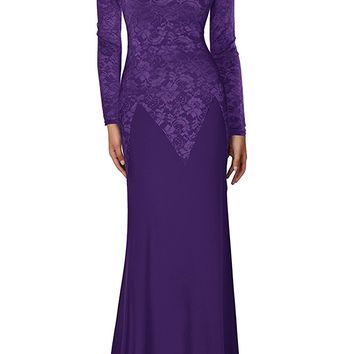 REPHYLLIS Women's Retro Floral Lace Wedding Maxi Bridesmaid Long Dress