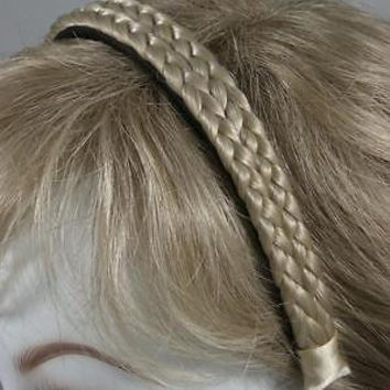 "Headband 3/4"" wide Double Braided Hair in blonde brown or black plastic base"