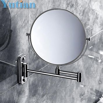 "Wall Mounted 8"" Double-Sided Magnifying Stainless Steel Bathroom Mirror; (1:1 And 1:3)"