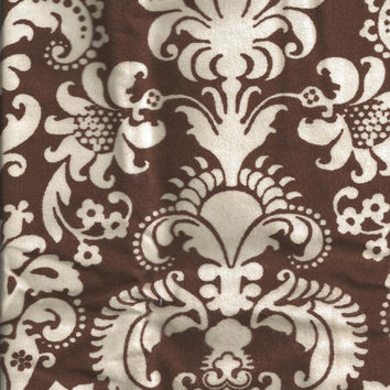Flannel Fabric, Brown Damask white, 1/2 Yard, More Yardage Available