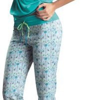 Laura High Quality Aqua Sexy Pajama Capri Pant Set #SL506032 - Made in Colombia