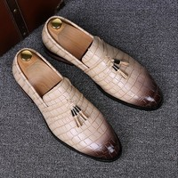 Genuine leather shoes slip on flats shoe oxfords tassel loafers male