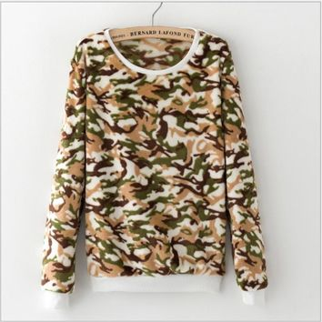 Flannel cute camouflage hedging sweater