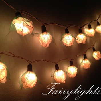Fairy String Lights - 35 White Color Rose Party Floral Home Decoration,Indoor string lights Bedroom fairy lights