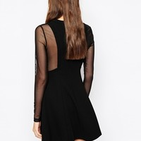 BCBGeneration Skater Dress with Sheer Mesh Panels