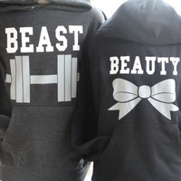 Free//Fast Shipping for US Beauty with Bow and  Beast with Dumbbell Couples Hoodies:Charcoal and Black(white decal)