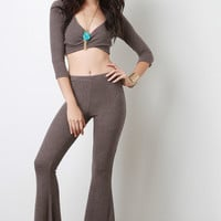 Texture Knit Flared Bottoms Pants