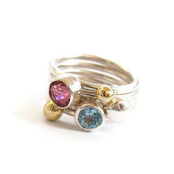Stackable silver rings, Silver ring with pink touramline, blue topaz, bronze and silver dot