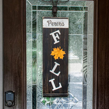 Personalized Fall Sign in Wood Plank 32x12, Autumn Decor Family Name Hanging