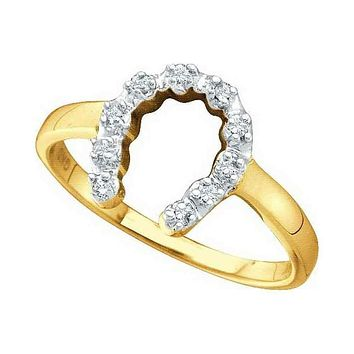 10kt Yellow Gold Women's Round Diamond Two-tone Simple Lucky Horseshoe Ring 1/20 Cttw - FREE Shipping (US/CAN)