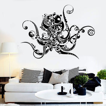 Vinyl Wall Decal  Octopus Sea Monster Art Decor Marine Style Stickers Unique Gift (924ig)