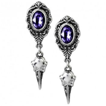 Alchemy Gothic My Soul From The Shadow Raven Skull Purple Cameo Earstuds Earrings