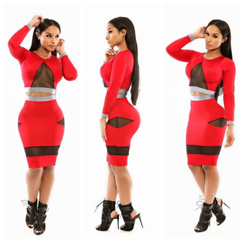 Red with Mesh Cut-Out Long Sleeve Cropped and Bodycon Skirt