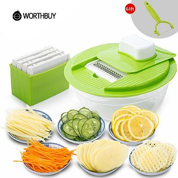 WORTHBUY Multifunctional Vegetable Slicers With 5 Stainless Steel Blades Fruit Shredder Carrot Cutter Grater Kitchen Accessories