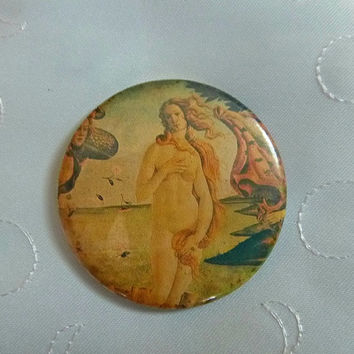 40's'Birth of VENUS Botticelli Purse MIRROR Old Vintage Makeup Vanity Souvenir LaSalle Hotel Chicago Illinois Historical Museum Art Gallery