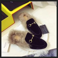 Best Online Sale Gucci Slip On Wool Slippers Black For Women