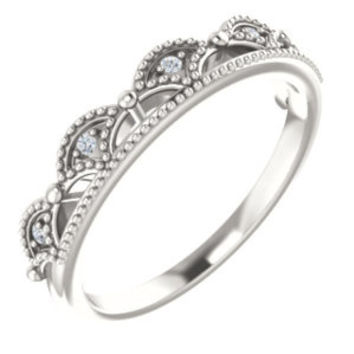14K White 1.2mm Round Accented Crown Ring Mounting