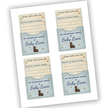 Boy Teddy Library Book Plate - Boy Baby Shower Bookplates - Stock The Library Labels - Blue Teddy Bear Book Labels - Beary Book Babyshower