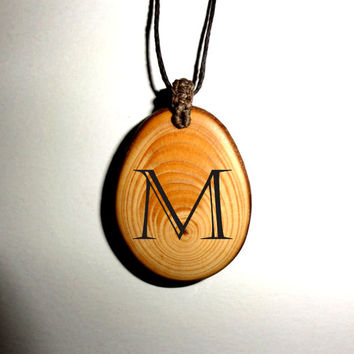 Inspirational Jewelry Wooden Pendant Necklace. Letter Pendant Natural Rustic Handcrafted. Handmade Personalized Pendants. Custom Necklaces.