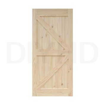 DIYHD 38in*84in Pine Knotty Sliding Barn Wood Door Slab Two-side Arrow Style Barn Door