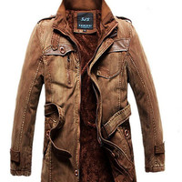 Denim Fleece Casual Men's Military Winter Wind Outwear Over Coat-Brown