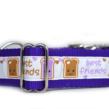 PB&J BFF Dog Collar Aluminum, 1.5 inch wide, Peanut Butter and Jelly Friends,  white, purple, friends, buddies, sweet, girly, toast