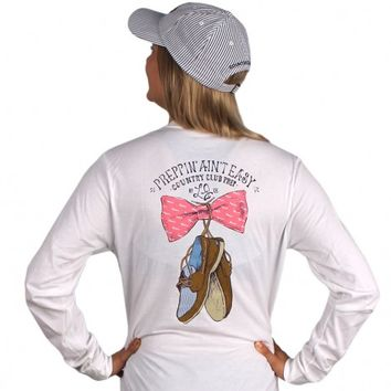 Exclusive Preppin' Ain't Easy Long Sleeve Tee in White by Lauren James & CCP