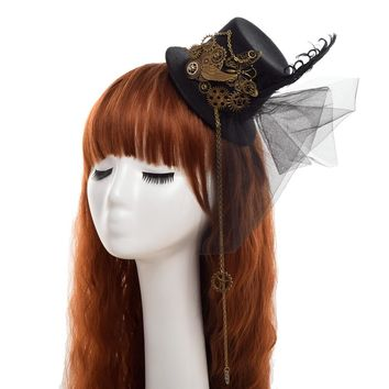 Women Steampunk Fascinator Mini Top Hat Hair Clip Punk Gothic Gear Wings Clock Butterfly Decoration Headwear Hair Accessories