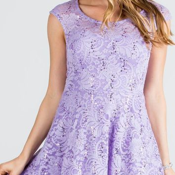 Lace Cap Sleeves Short Cocktail Dress Boat Neckline Lilac